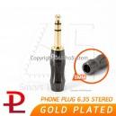 Palic Phone 6.35 Stereo Male Plug ทองแดงชุบทอง Gold Plated ขนาด 8mm